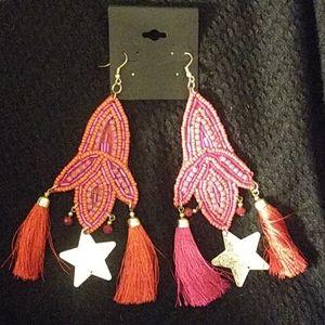 Boho fabric earrings